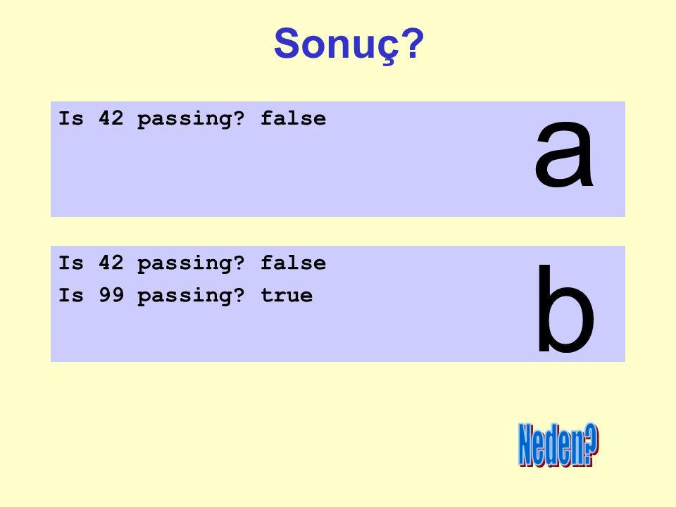 a b Sonuç Neden Is 42 passing false Is 42 passing false
