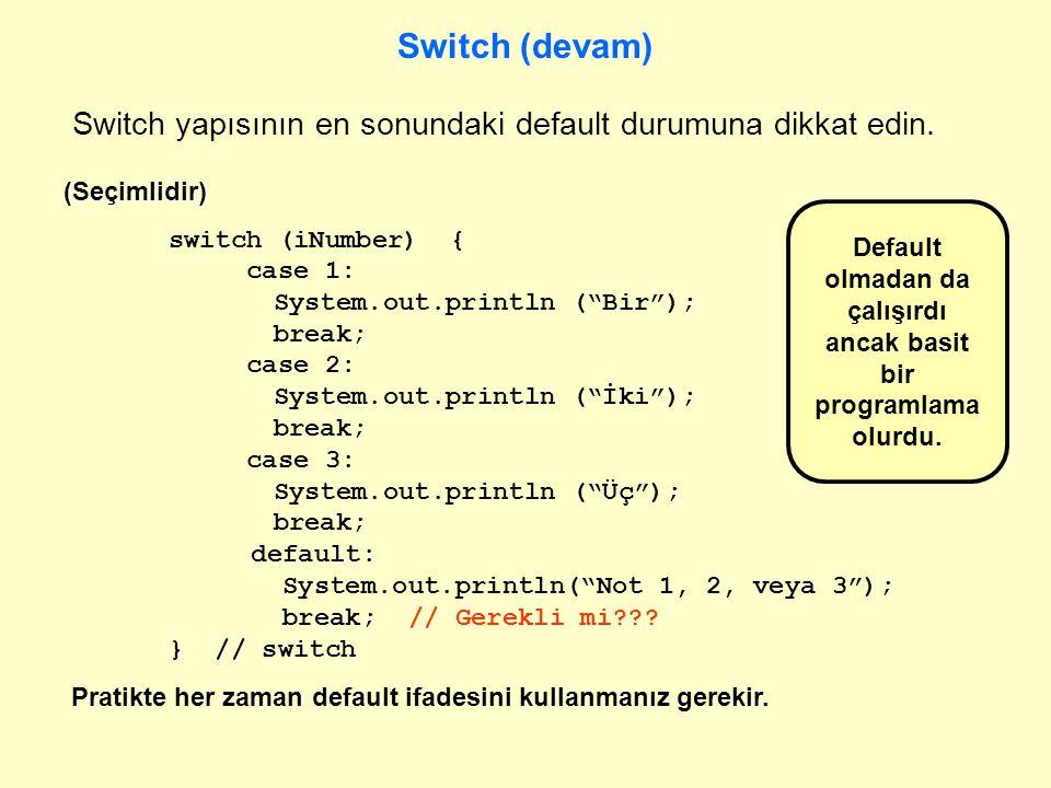 Default olmadan da çalışırdı ancak basit bir programlama olurdu.