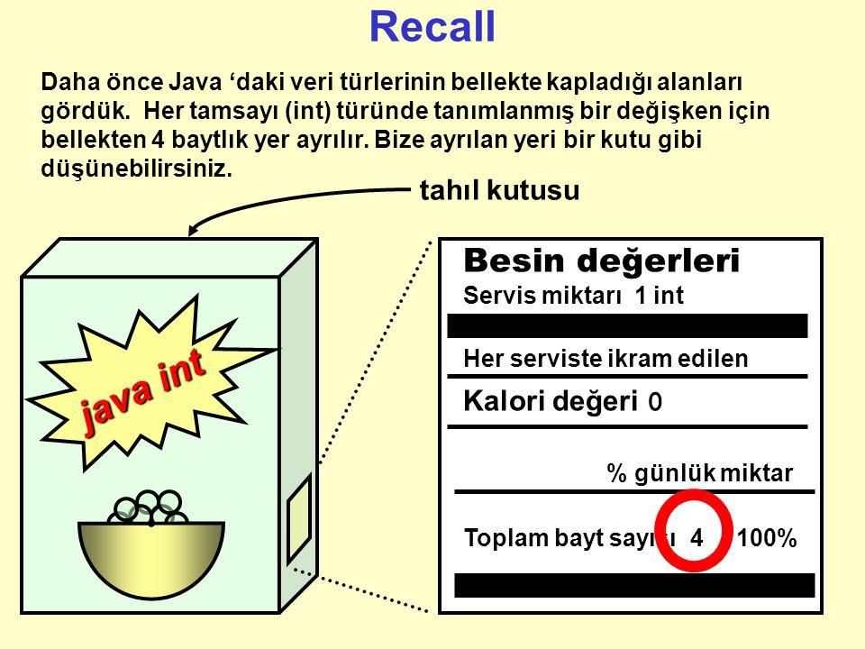 Recall java int Besin değerleri tahıl kutusu Kalori değeri 0