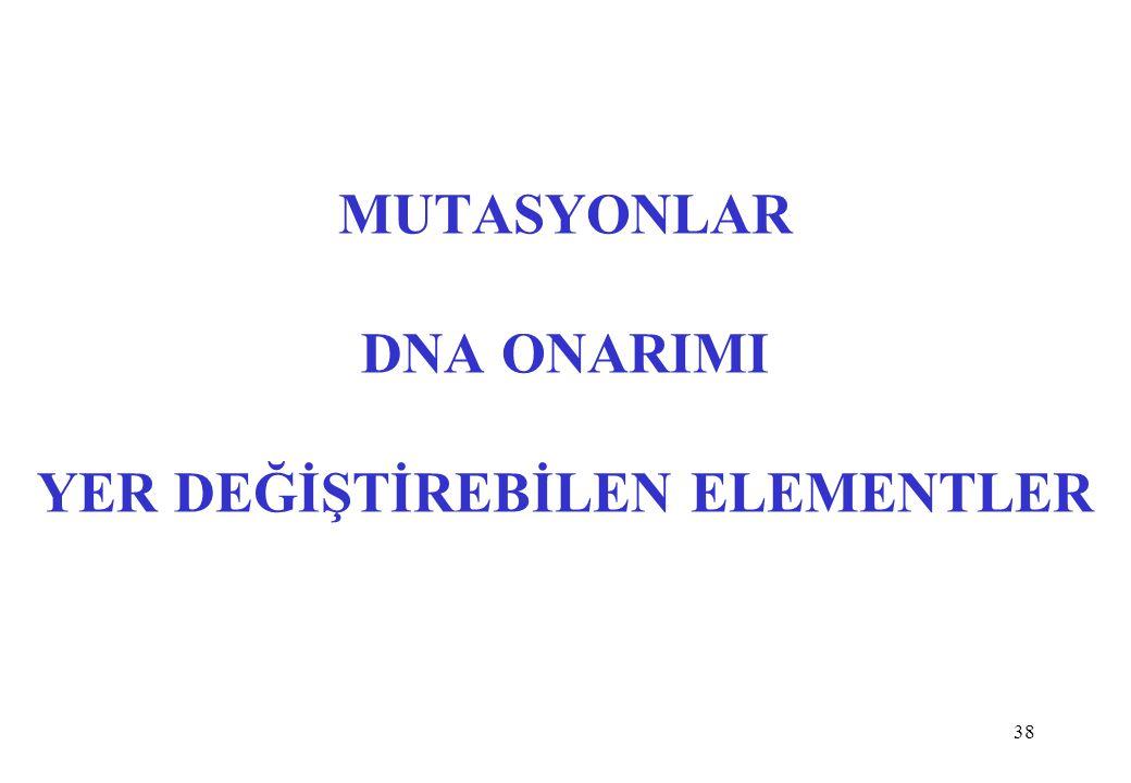 MUTASYONLAR DNA ONARIMI YER DEĞİŞTİREBİLEN ELEMENTLER