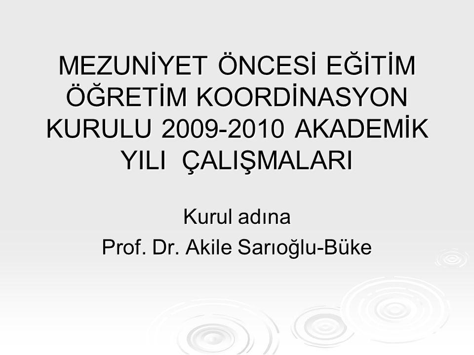 Kurul adına Prof. Dr. Akile Sarıoğlu-Büke