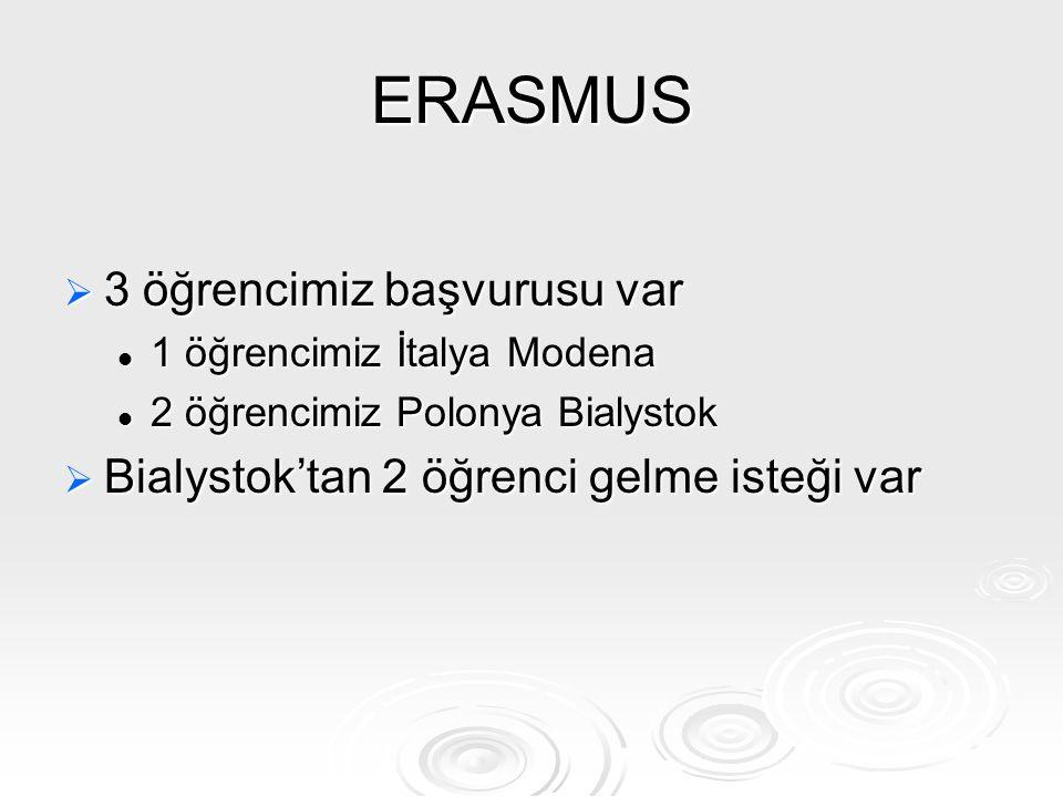 ERASMUS 3 öğrencimiz başvurusu var