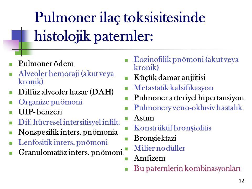 Pulmoner ilaç toksisitesinde histolojik paternler: