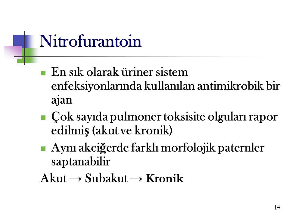Nitrofurantoin En sık olarak üriner sistem enfeksiyonlarında kullanılan antimikrobik bir ajan.