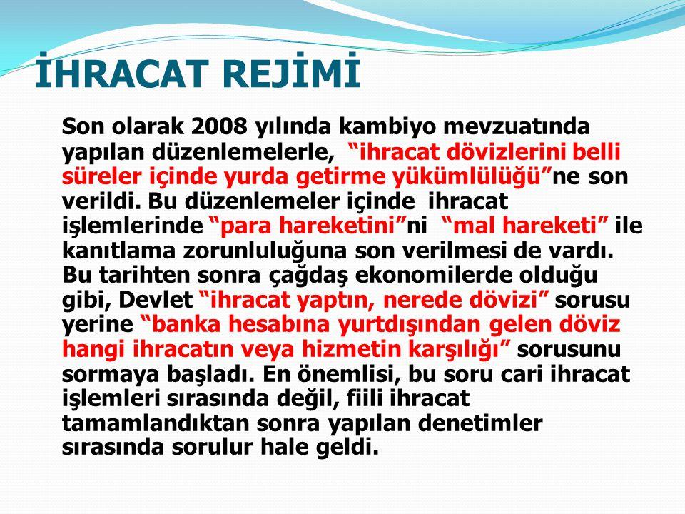 İHRACAT REJİMİ