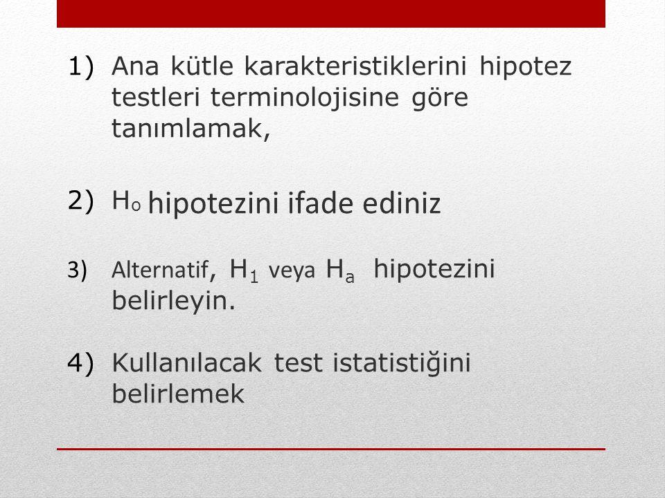 Ana kütle karakteristiklerini hipotez testleri terminolojisine göre tanımlamak,