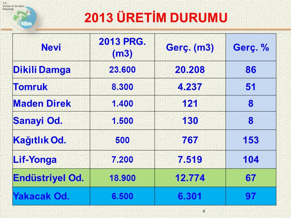 2013 ÜRETİM DURUMU Nevi 2013 PRG. (m3) Gerç. (m3) Gerç. % Dikili Damga