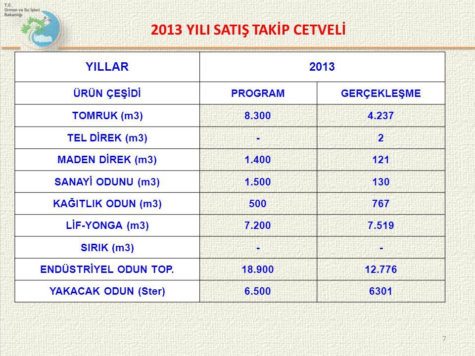 2013 YILI SATIŞ TAKİP CETVELİ