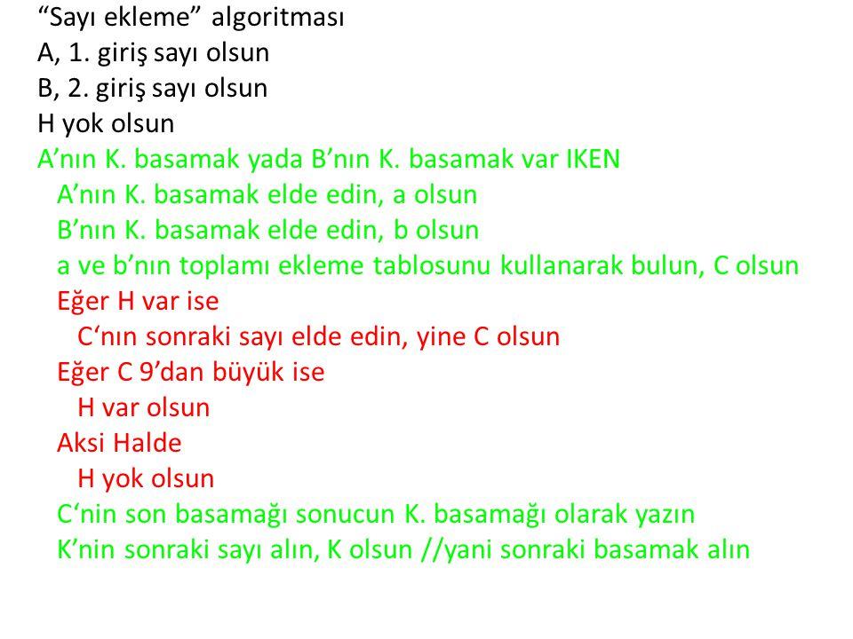 Sayı ekleme algoritması A, 1. giriş sayı olsun B, 2