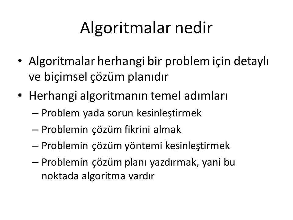 Algoritmalar nedir Algoritmalar herhangi bir problem için detaylı ve biçimsel çözüm planıdır. Herhangi algoritmanın temel adımları.