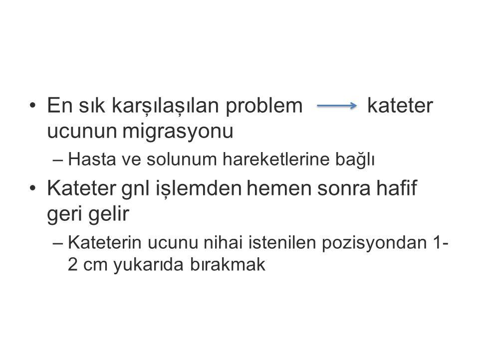 En sık karşılaşılan problem kateter ucunun migrasyonu