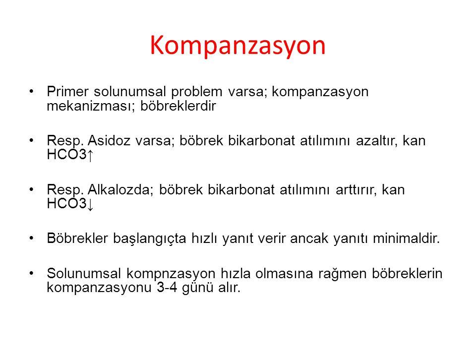 Kompanzasyon Primer solunumsal problem varsa; kompanzasyon mekanizması; böbreklerdir.