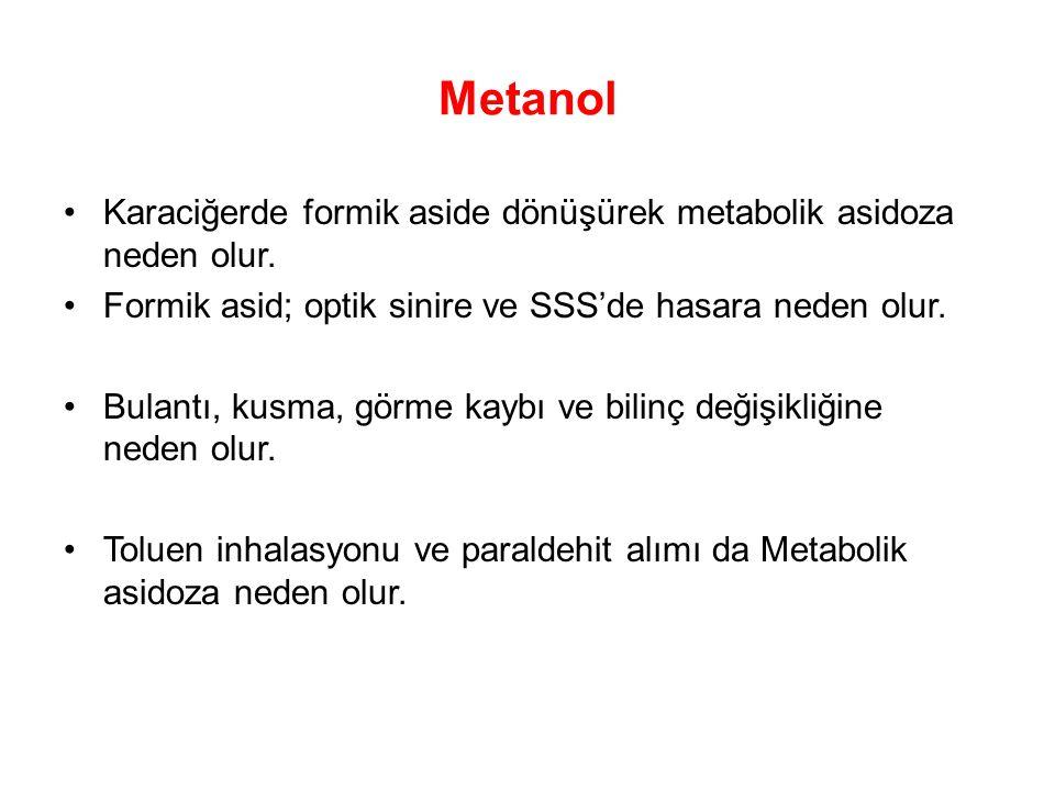 Metanol Karaciğerde formik aside dönüşürek metabolik asidoza neden olur. Formik asid; optik sinire ve SSS'de hasara neden olur.