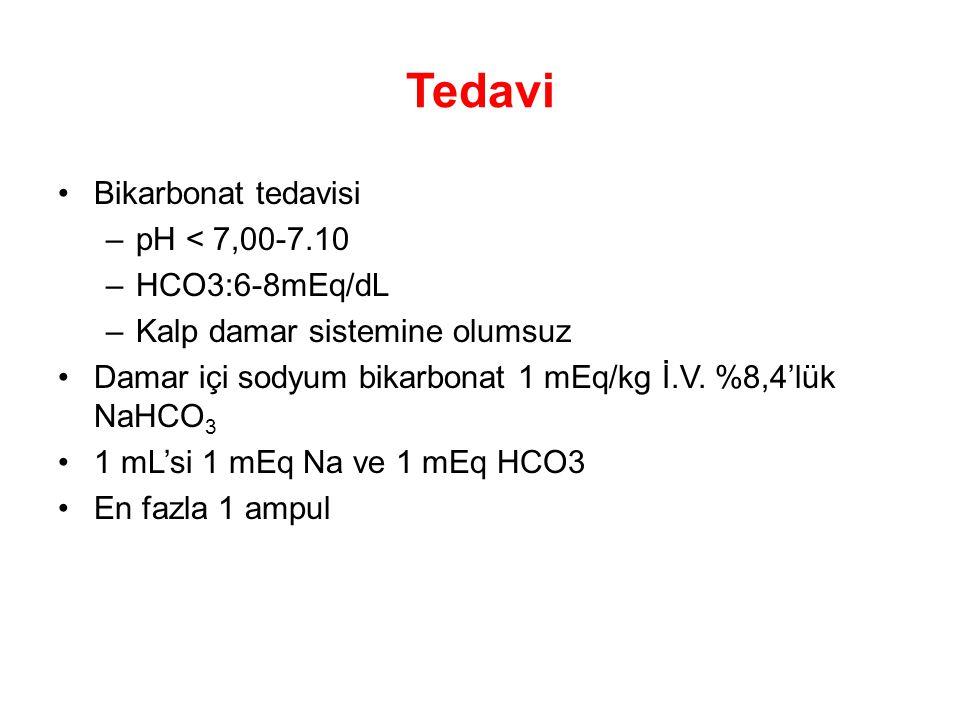 Tedavi Bikarbonat tedavisi pH < 7,00-7.10 HCO3:6-8mEq/dL
