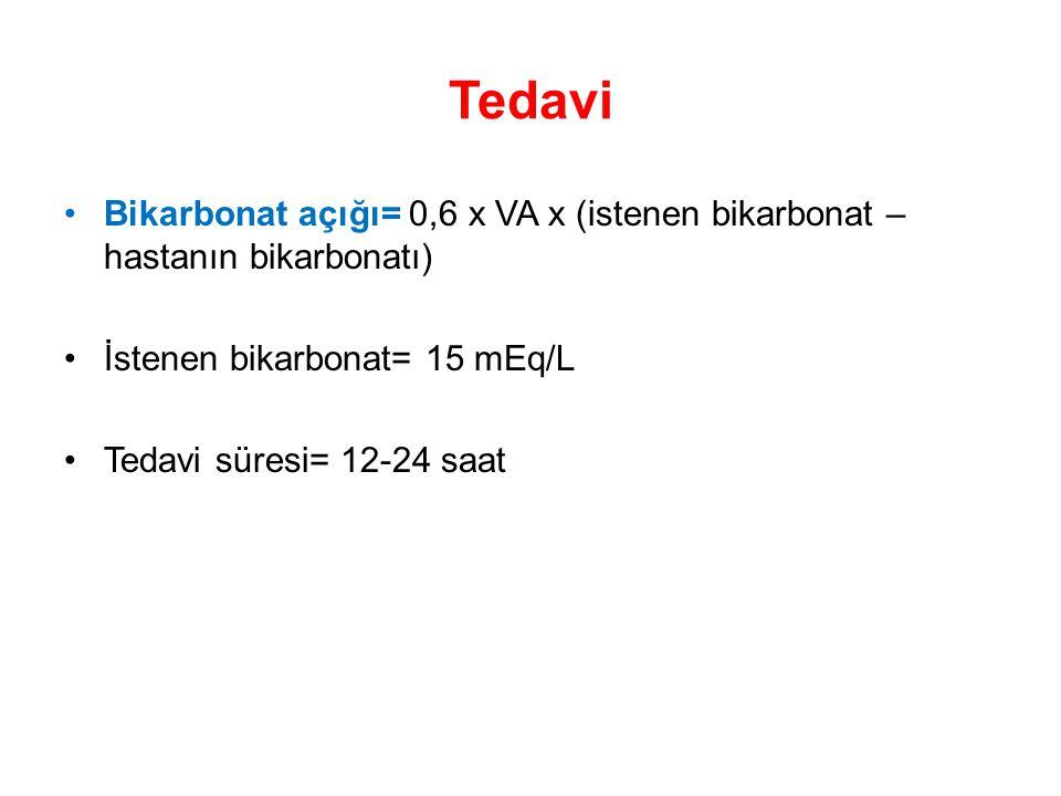 Tedavi Bikarbonat açığı= 0,6 x VA x (istenen bikarbonat – hastanın bikarbonatı) İstenen bikarbonat= 15 mEq/L.