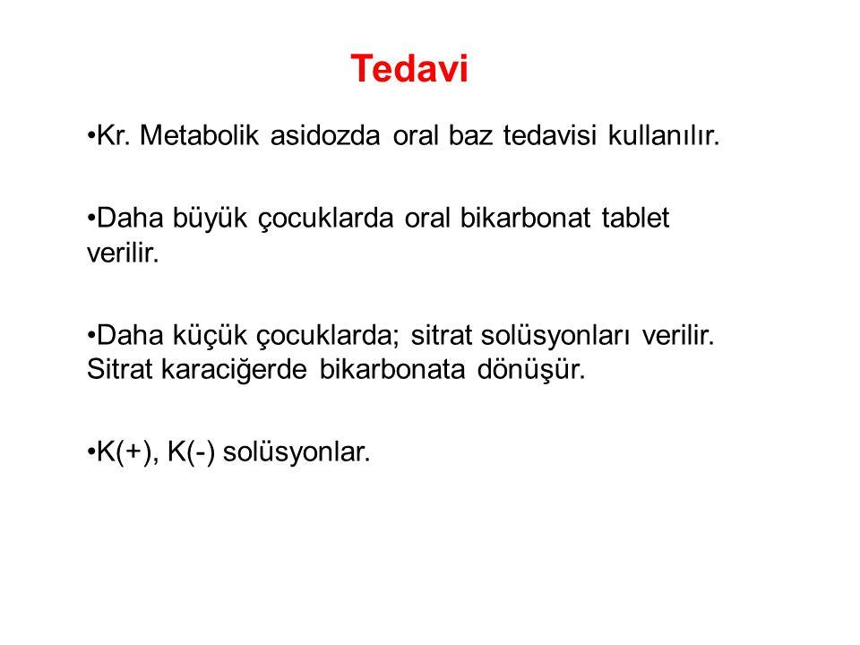 Tedavi Kr. Metabolik asidozda oral baz tedavisi kullanılır.