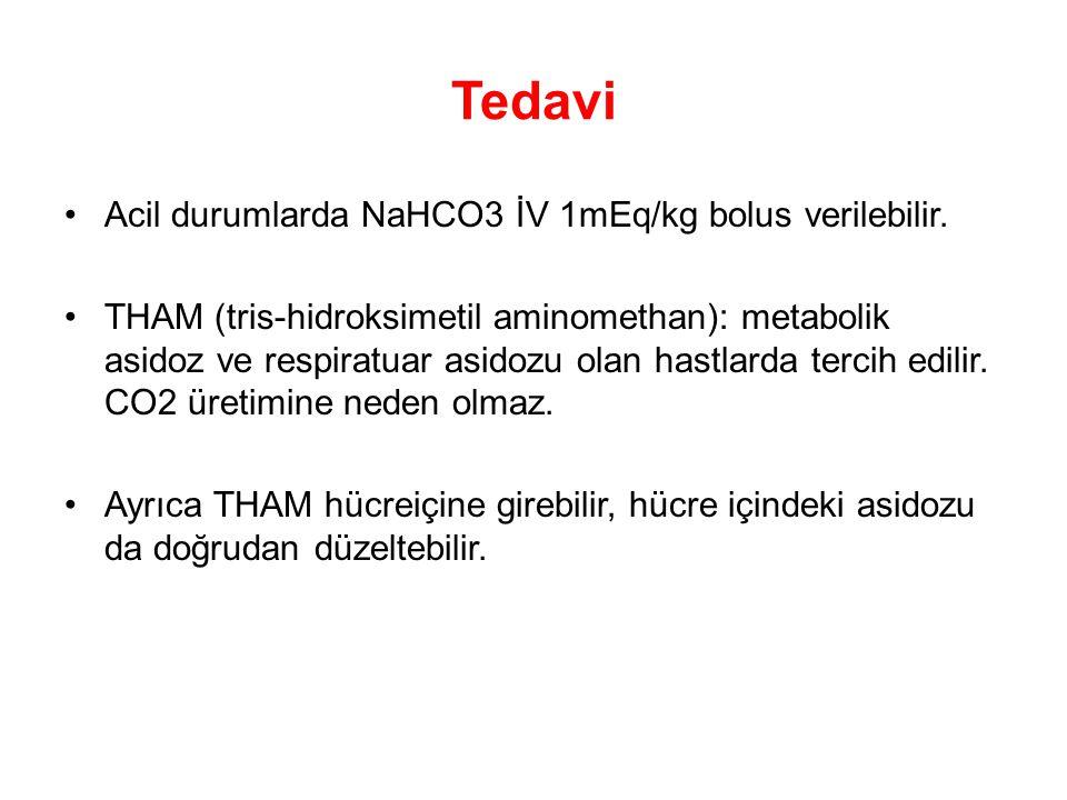 Tedavi Acil durumlarda NaHCO3 İV 1mEq/kg bolus verilebilir.