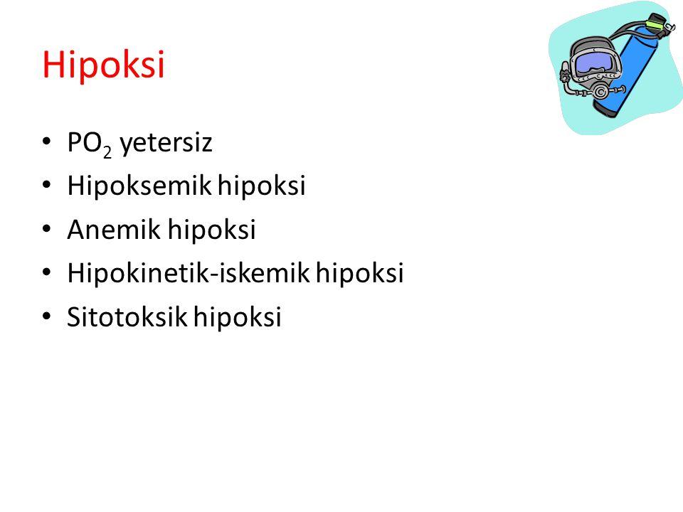 Hipoksi PO2 yetersiz Hipoksemik hipoksi Anemik hipoksi