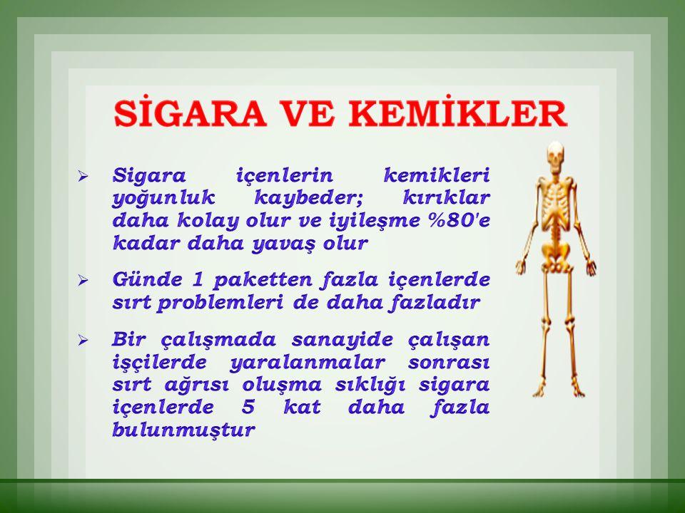 Sigara içenlerin kemikleri yoğunluk kaybeder; kırıklar daha kolay olur ve iyileşme %80 e kadar daha yavaş olur