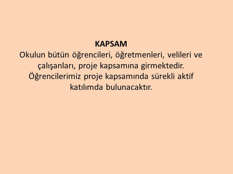 KAPSAM Okulun bütün öğrencileri, öğretmenleri, velileri ve çalışanları, proje kapsamına girmektedir.