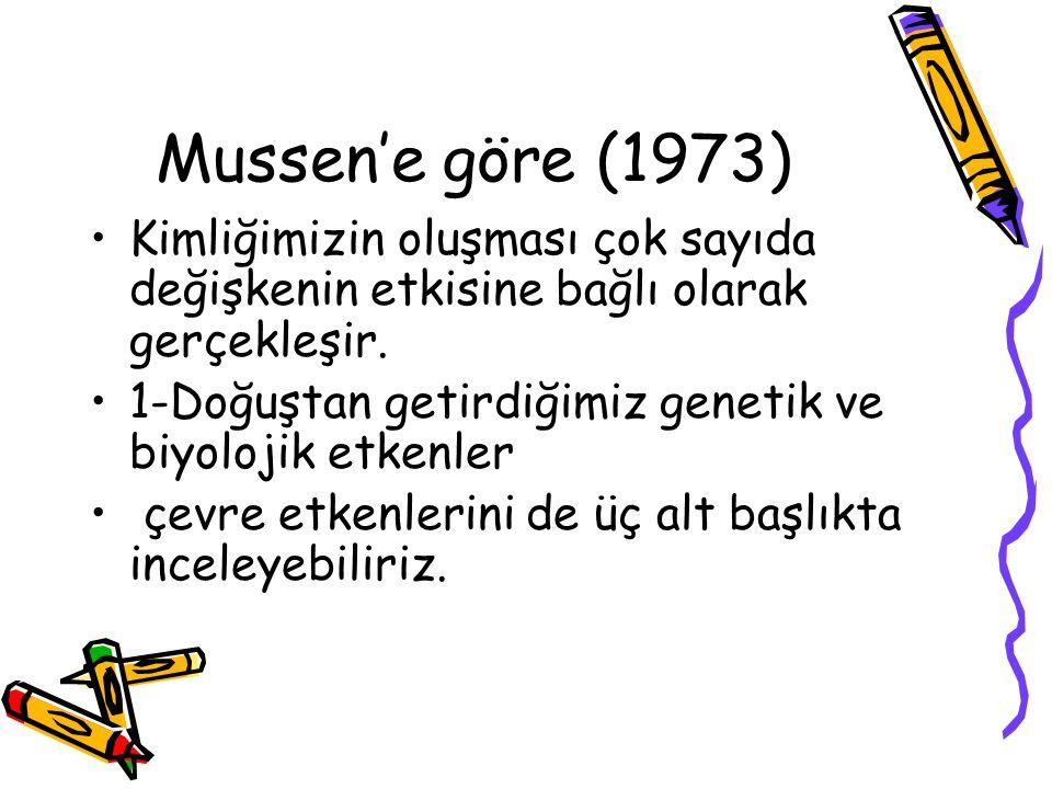 Mussen'e göre (1973) Kimliğimizin oluşması çok sayıda değişkenin etkisine bağlı olarak gerçekleşir.