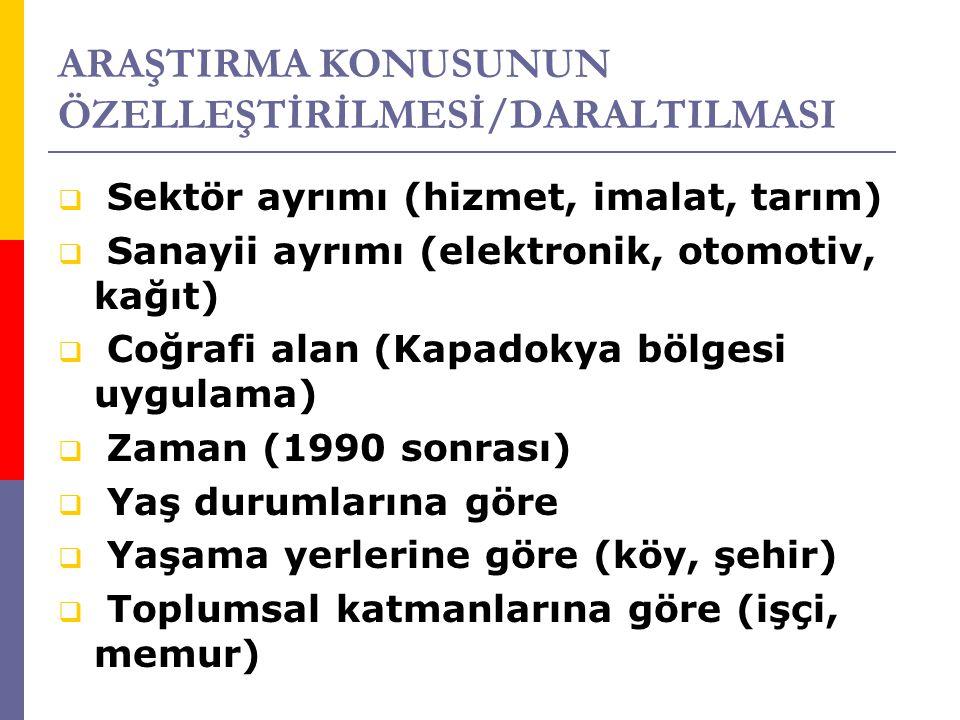 ARAŞTIRMA KONUSUNUN ÖZELLEŞTİRİLMESİ/DARALTILMASI