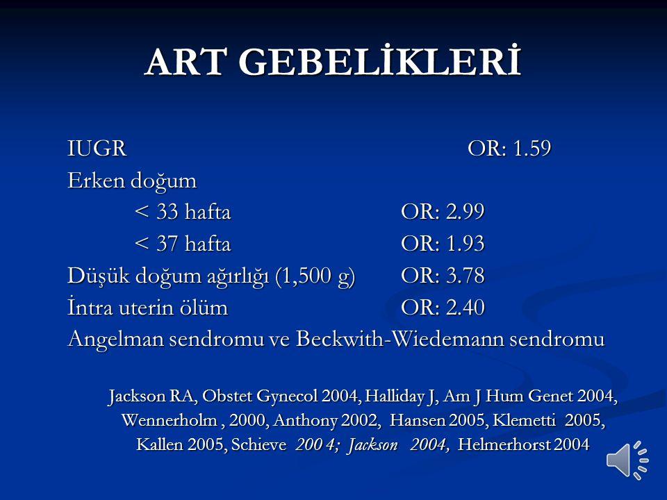 ART GEBELİKLERİ IUGR OR: 1.59 Erken doğum < 33 hafta OR: 2.99