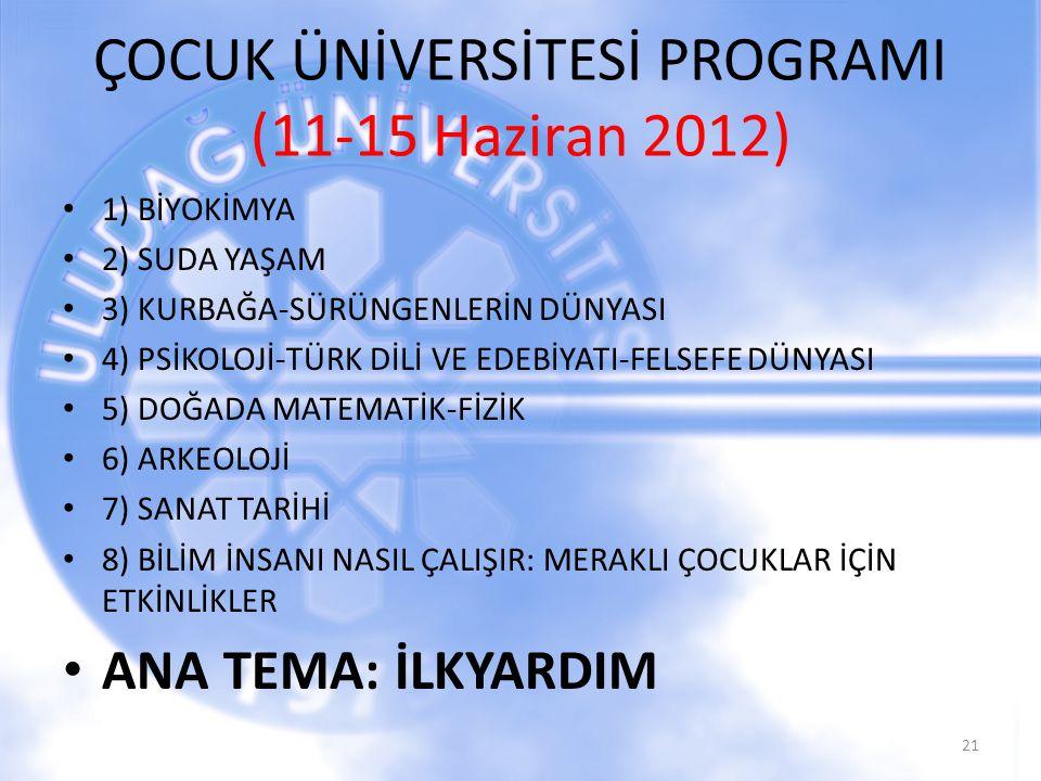 ÇOCUK ÜNİVERSİTESİ PROGRAMI (11-15 Haziran 2012)