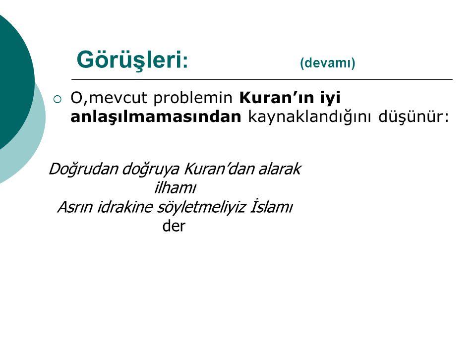 Görüşleri: (devamı) O,mevcut problemin Kuran'ın iyi anlaşılmamasından kaynaklandığını düşünür: