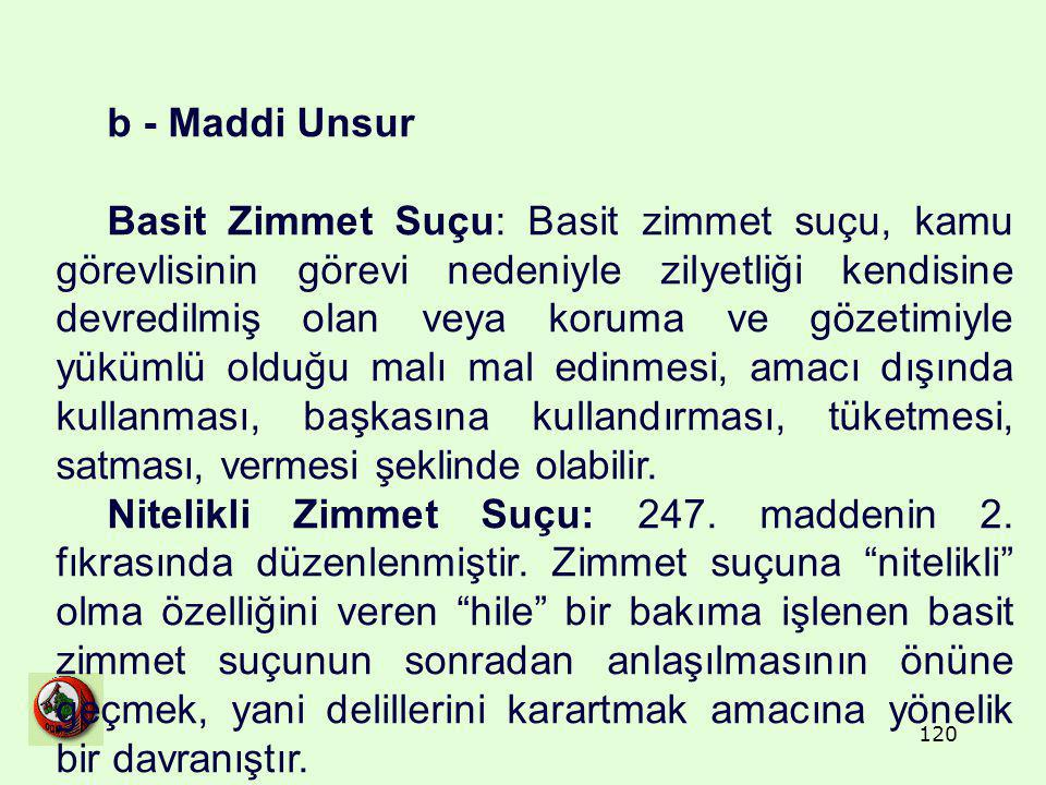 b - Maddi Unsur