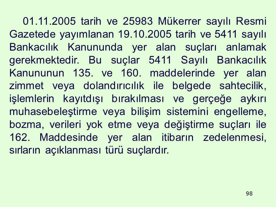 01.11.2005 tarih ve 25983 Mükerrer sayılı Resmi Gazetede yayımlanan 19.10.2005 tarih ve 5411 sayılı Bankacılık Kanununda yer alan suçları anlamak gerekmektedir.