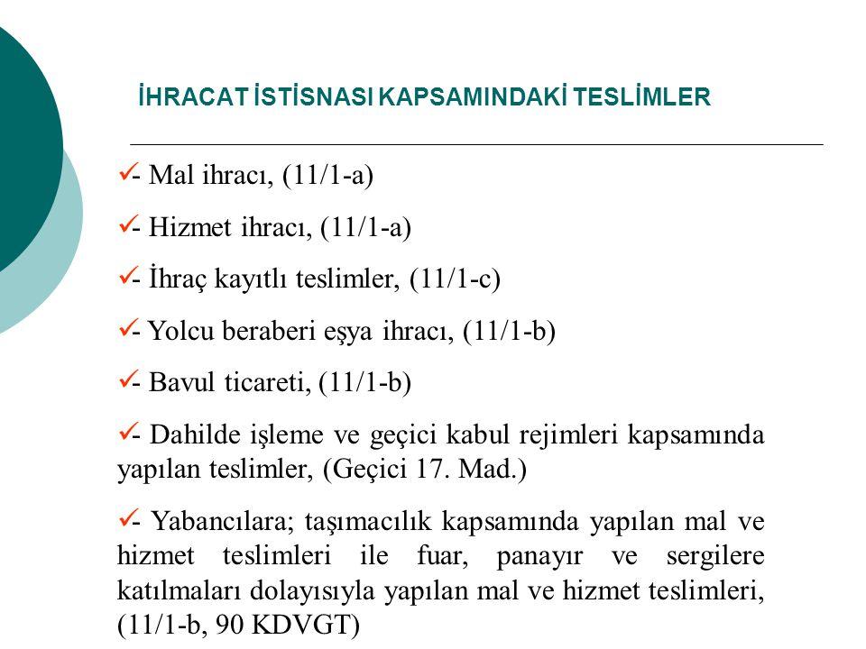 İHRACAT İSTİSNASI KAPSAMINDAKİ TESLİMLER