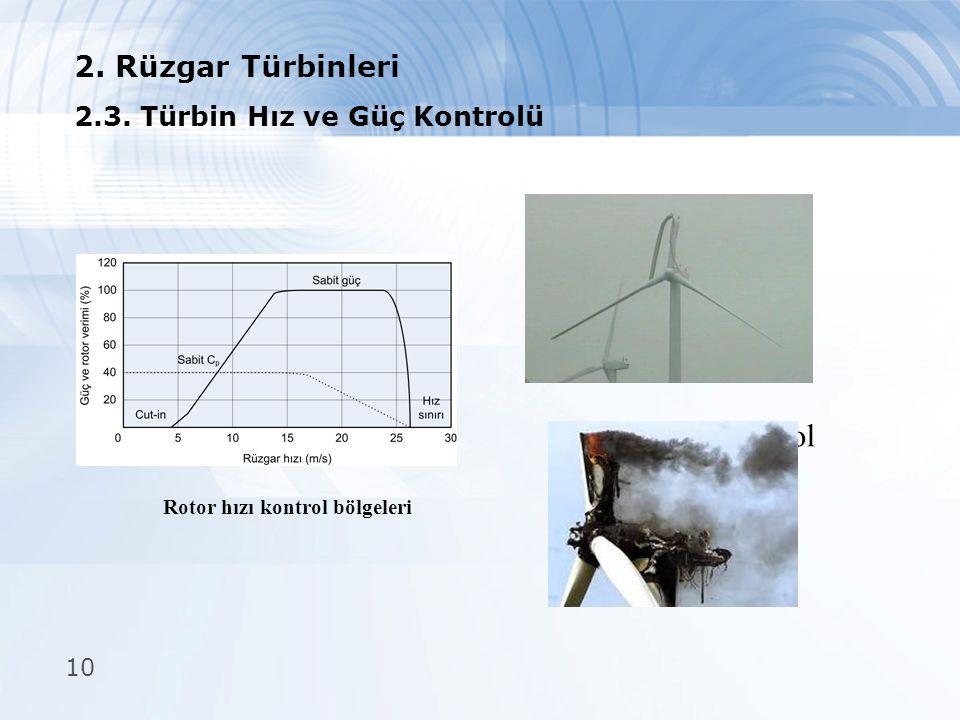 Rotor hızı kontrol bölgeleri