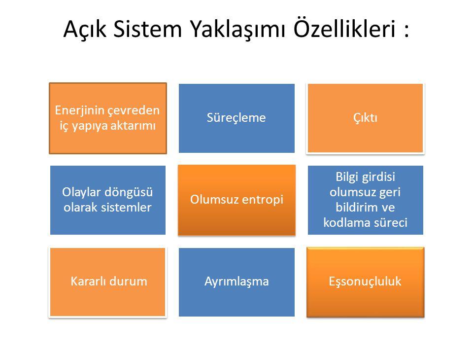 Açık Sistem Yaklaşımı Özellikleri :
