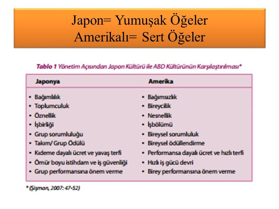 Japon= Yumuşak Öğeler Amerikalı= Sert Öğeler