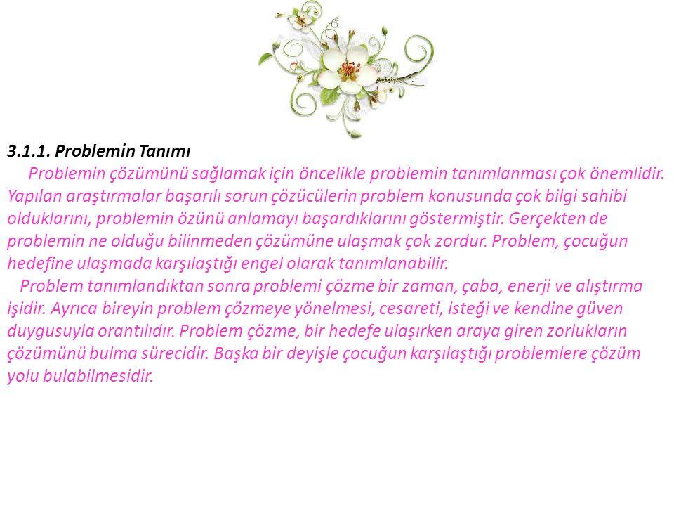 3.1.1. Problemin Tanımı Problemin çözümünü sağlamak için öncelikle problemin tanımlanması çok önemlidir.