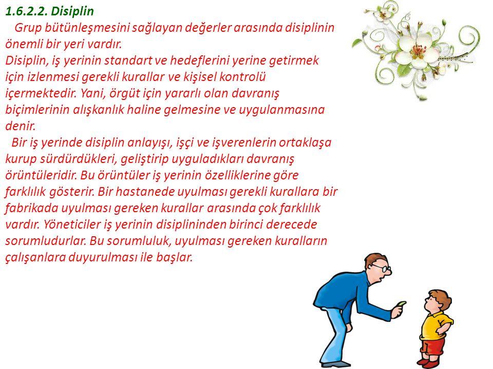 1.6.2.2. Disiplin Grup bütünleşmesini sağlayan değerler arasında disiplinin önemli bir yeri vardır.