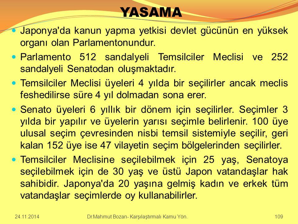 YASAMA Japonya da kanun yapma yetkisi devlet gücünün en yüksek organı olan Parlamentonundur.