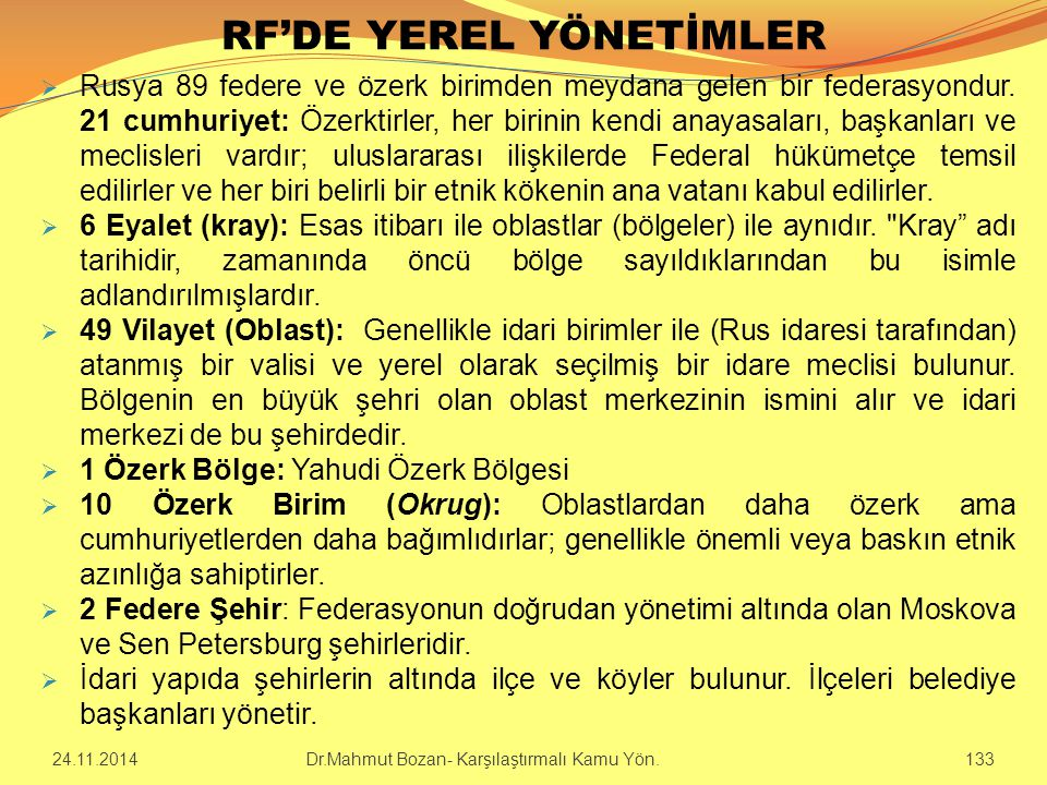 RF'DE YEREL YÖNETİMLER