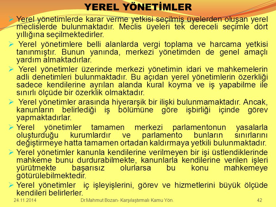 YEREL YÖNETİMLER