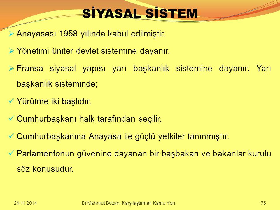 SİYASAL SİSTEM Anayasası 1958 yılında kabul edilmiştir.