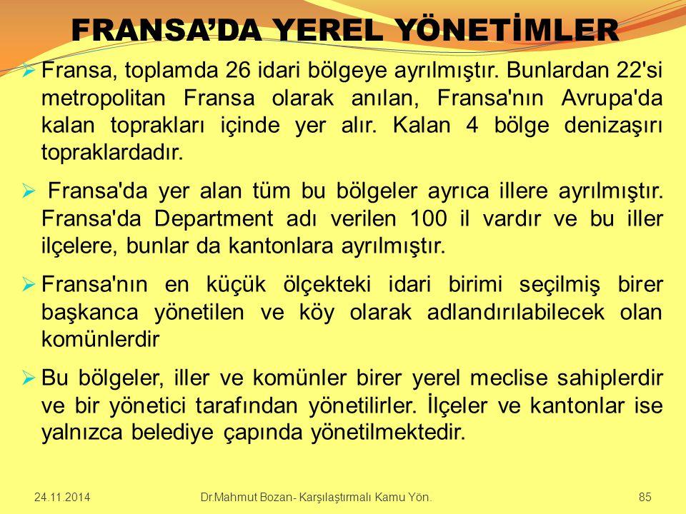 FRANSA'DA YEREL YÖNETİMLER
