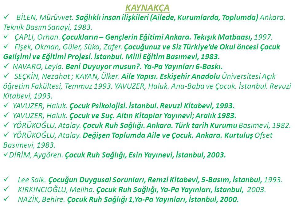 KAYNAKÇA BİLEN, Mürüvvet. Sağlıklı insan ilişkileri (Ailede, Kurumlarda, Toplumda) Ankara. Teknik Basım Sanayi, 1983.