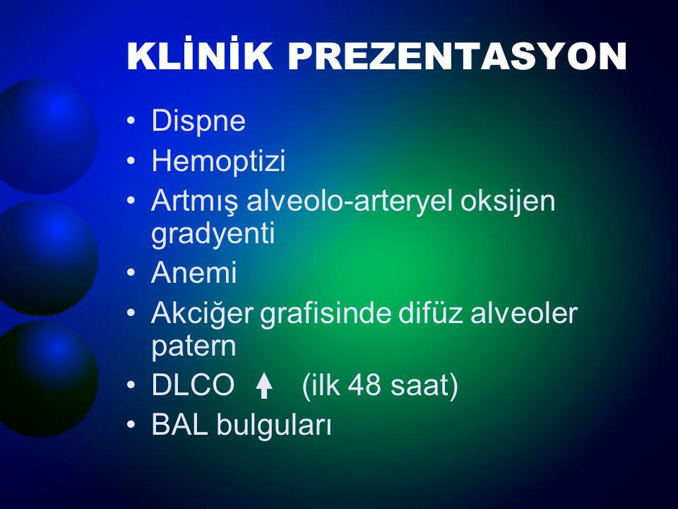 KLİNİK PREZENTASYON Dispne Hemoptizi