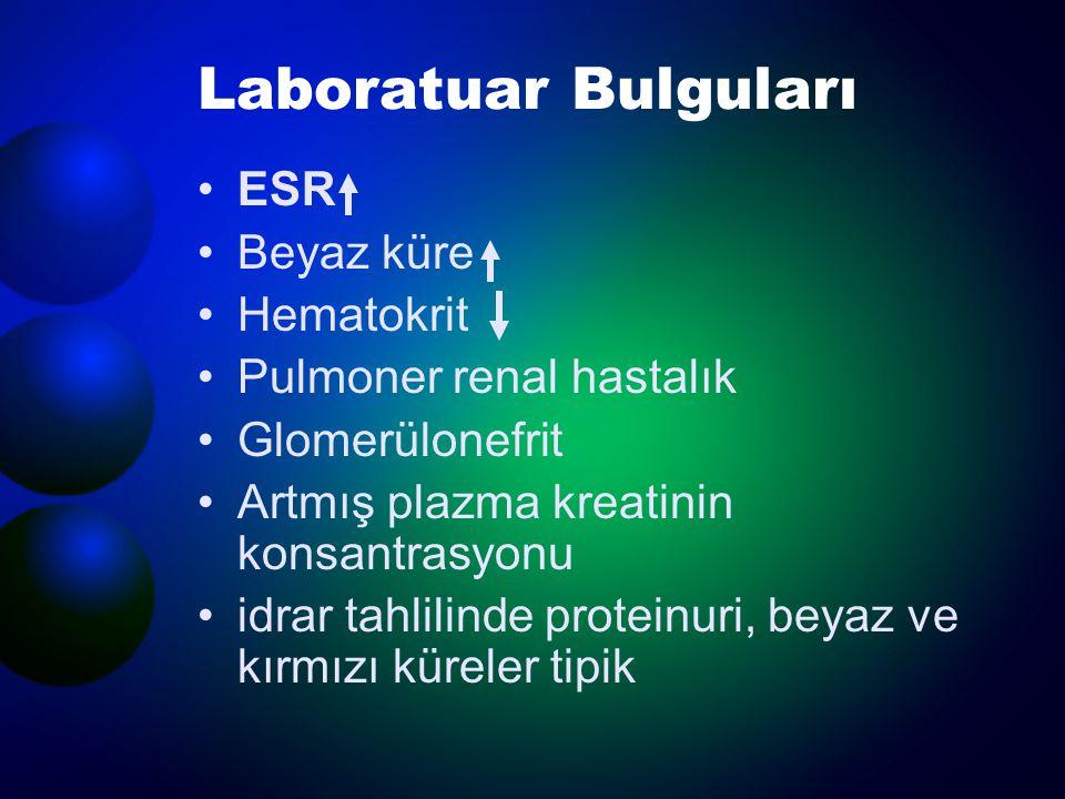 Laboratuar Bulguları ESR Beyaz küre Hematokrit Pulmoner renal hastalık