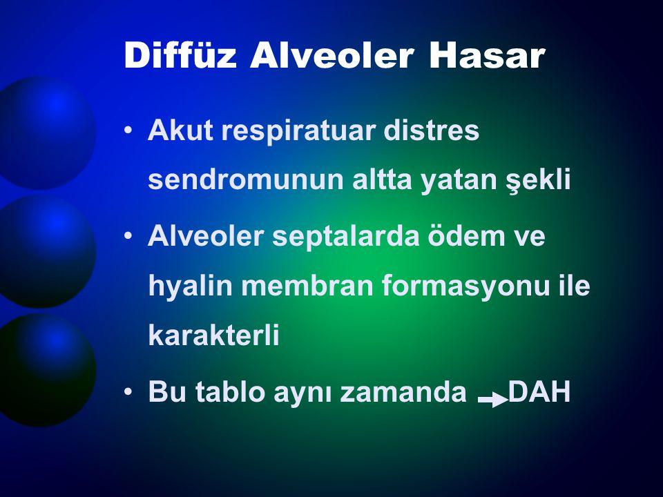 Diffüz Alveoler Hasar Akut respiratuar distres sendromunun altta yatan şekli. Alveoler septalarda ödem ve hyalin membran formasyonu ile karakterli.