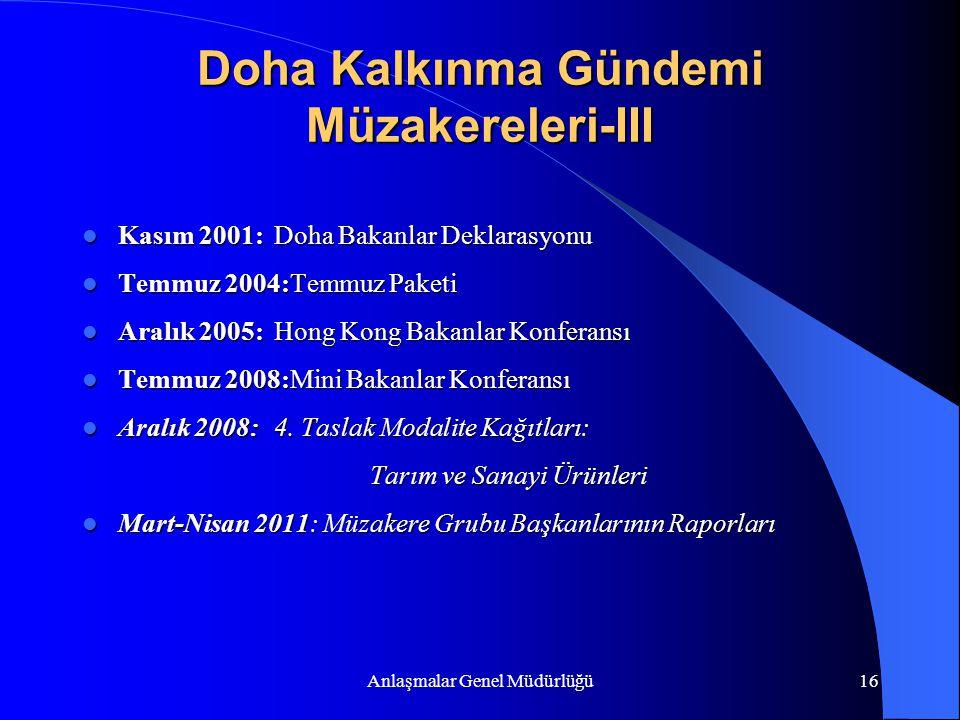 Doha Kalkınma Gündemi Müzakereleri-III
