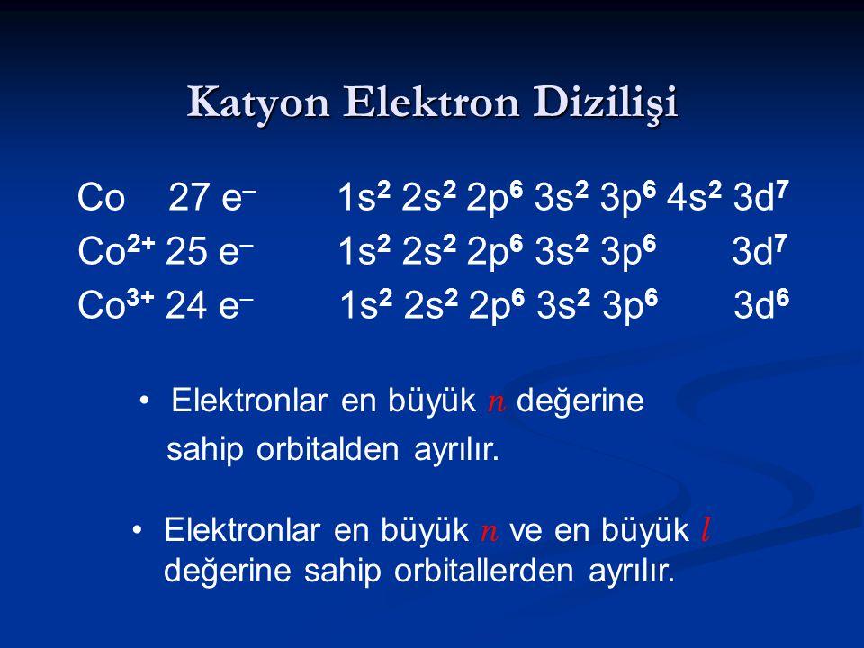 Katyon Elektron Dizilişi