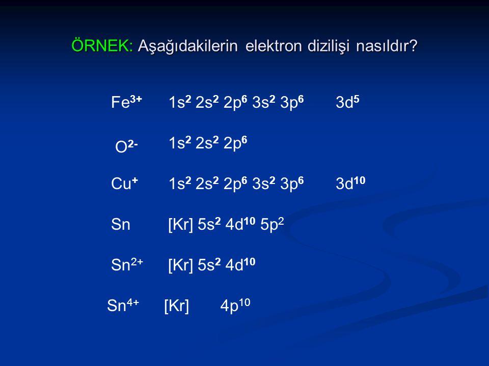 ÖRNEK: Aşağıdakilerin elektron dizilişi nasıldır