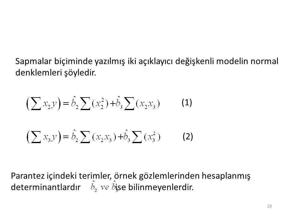 Sapmalar biçiminde yazılmış iki açıklayıcı değişkenli modelin normal denklemleri şöyledir.